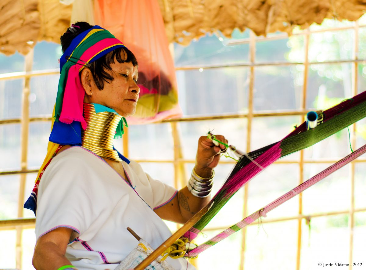 Karen Long Neck Tribe with bras neck chain at Chiang Mai