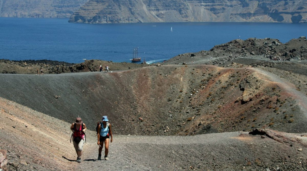 Explore the Crater of an Active Volcano in Santorini, Greece