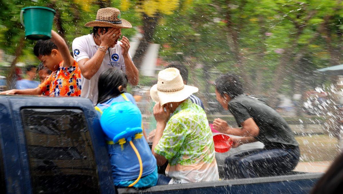 Water splashing during Songkran Festival