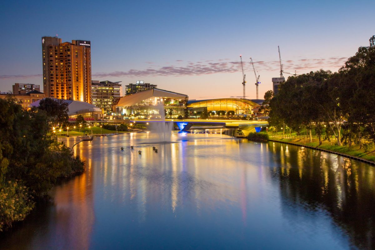 Evening view of calm River Torrens Adelaide