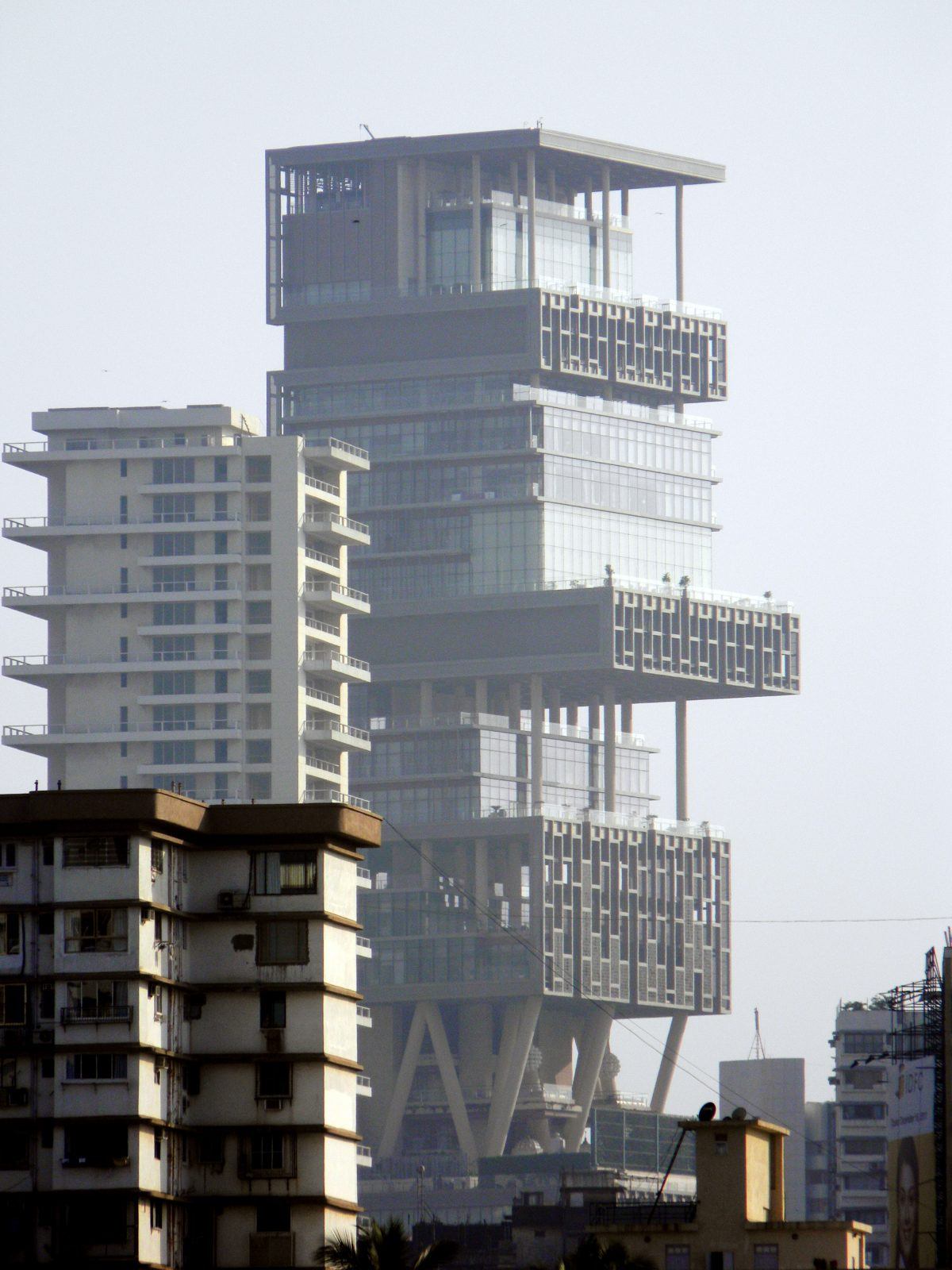 Ground level view of Antilia, Mumbai's most expensive house, towering over its surrounding buildings
