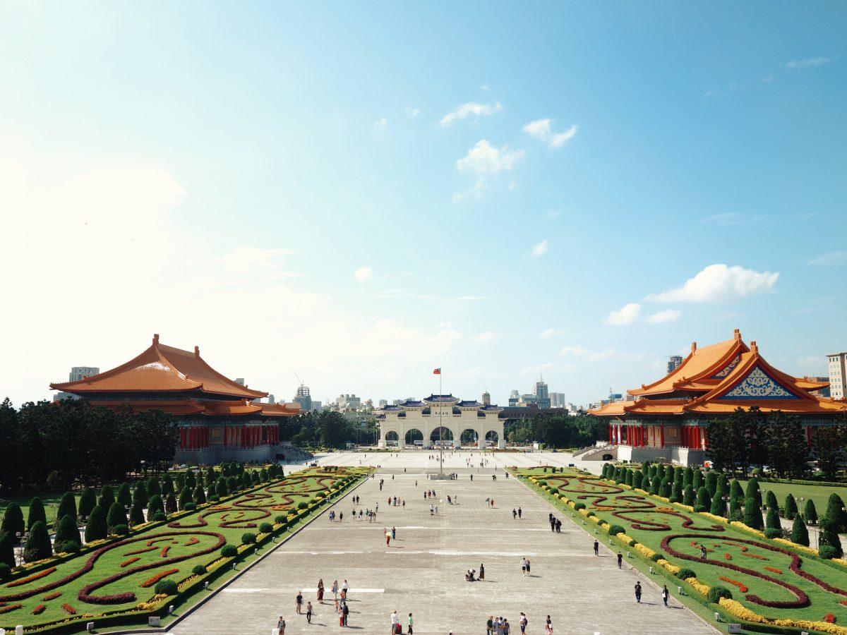 Aerial view of the wide courtyard surrounding the memorial hall of Taiwan's Founding Father, Chiang Kai-shek