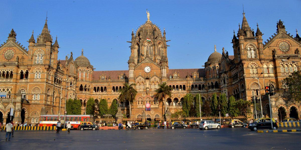 Main entrance of the Chhatrapati Shivaji Terminus, a UNESCO World Heritage Site in Mumbai