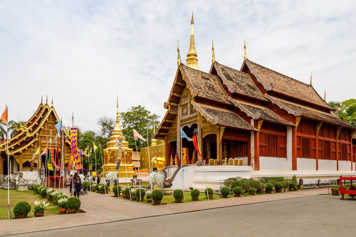 Golden Buddhist temple in Chiang Mai, Thailand