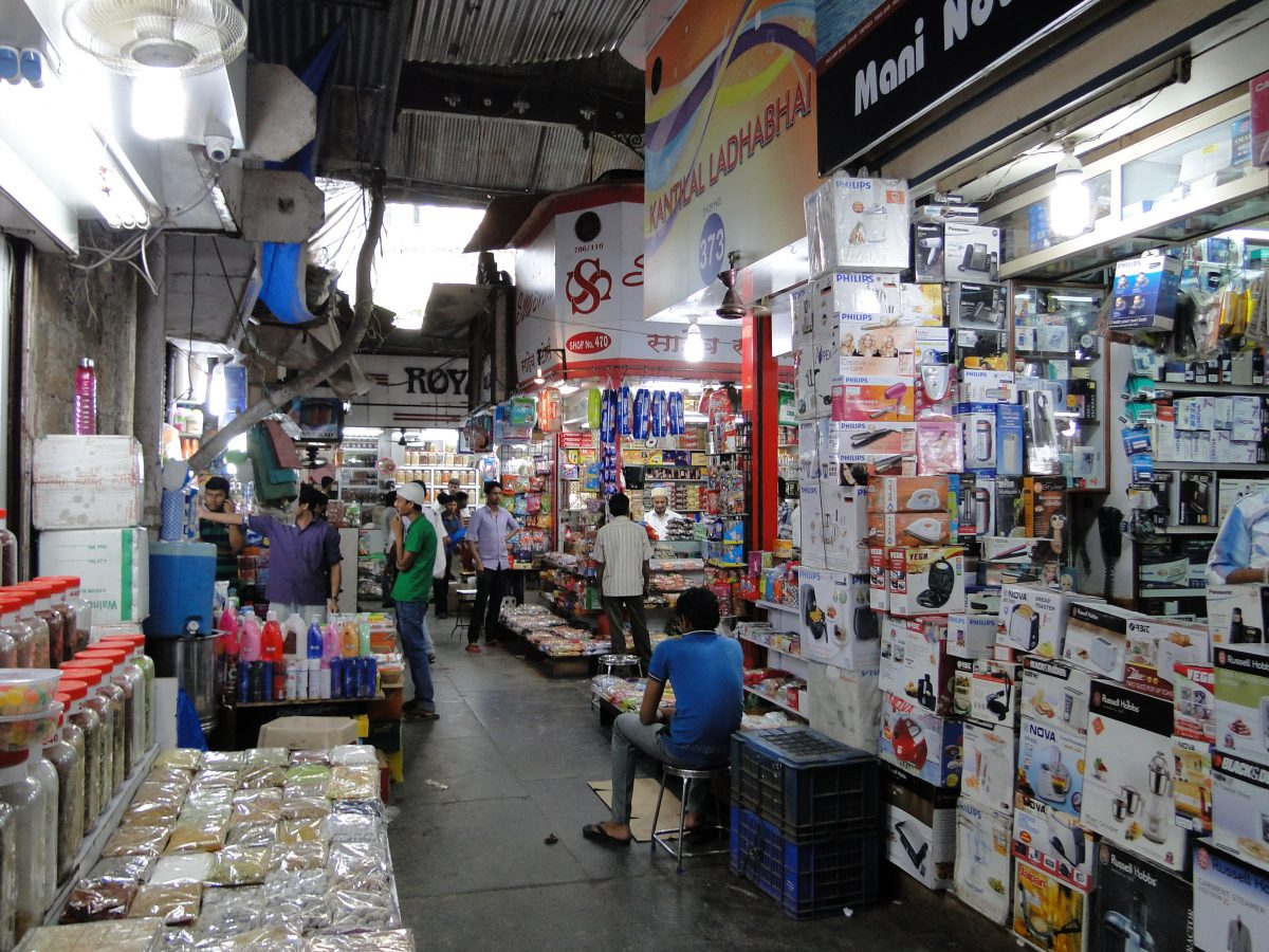 Bustling crowds and shops selling everything from home decor to jewellery to spices, can be found at Mumbai's Crawford Market