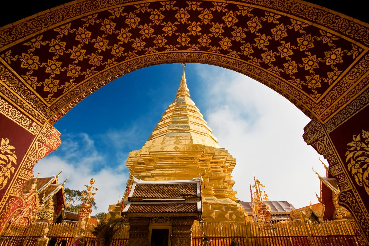 Golden Lanna style temple in Chiang Mai, Thailand