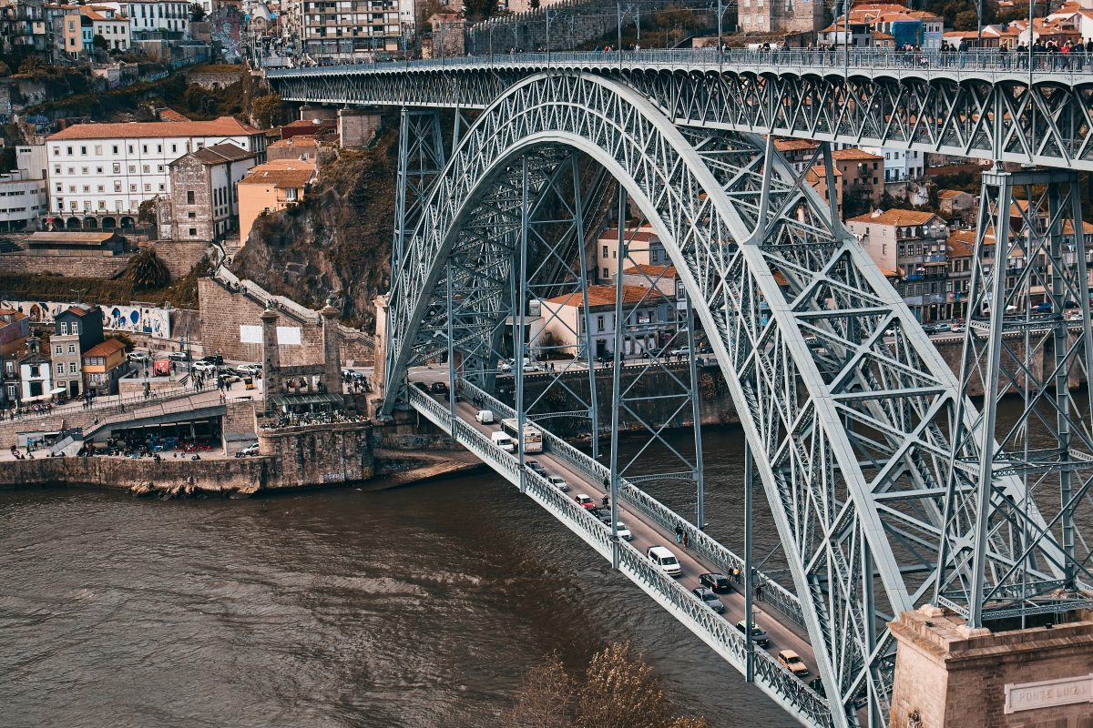 Dom Luis Bridge is the iconic bridge of Porto that links the Cais da Ribeira with Port vineyards across the Duoro River