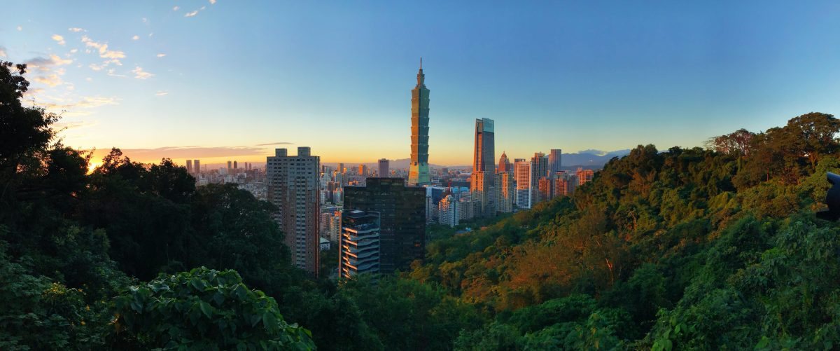 Scenic sunrise view of Taipei's skyline from Elephant Mountain