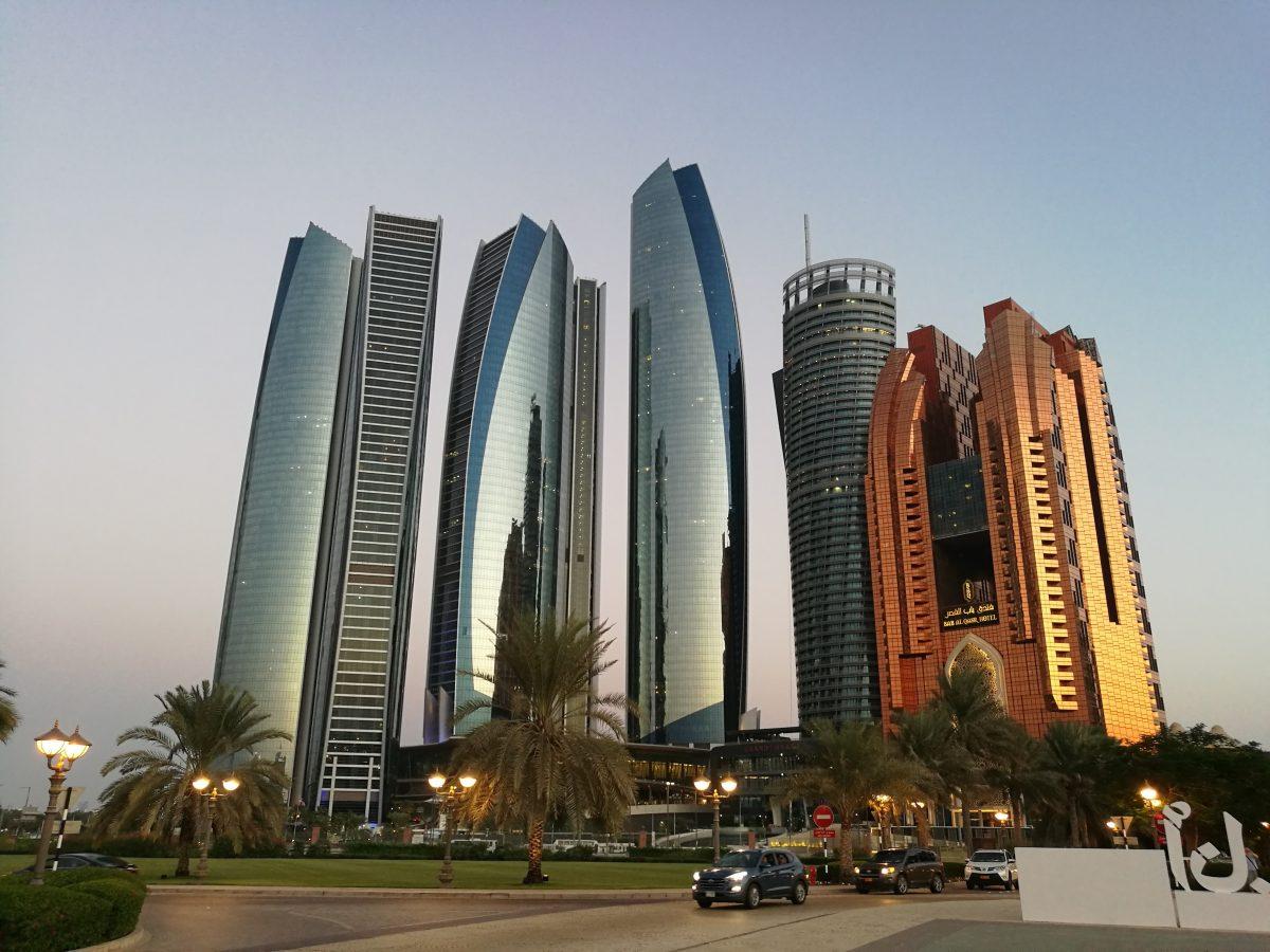 Majestic Etihad towers skyscrapers in Abu Dhabi
