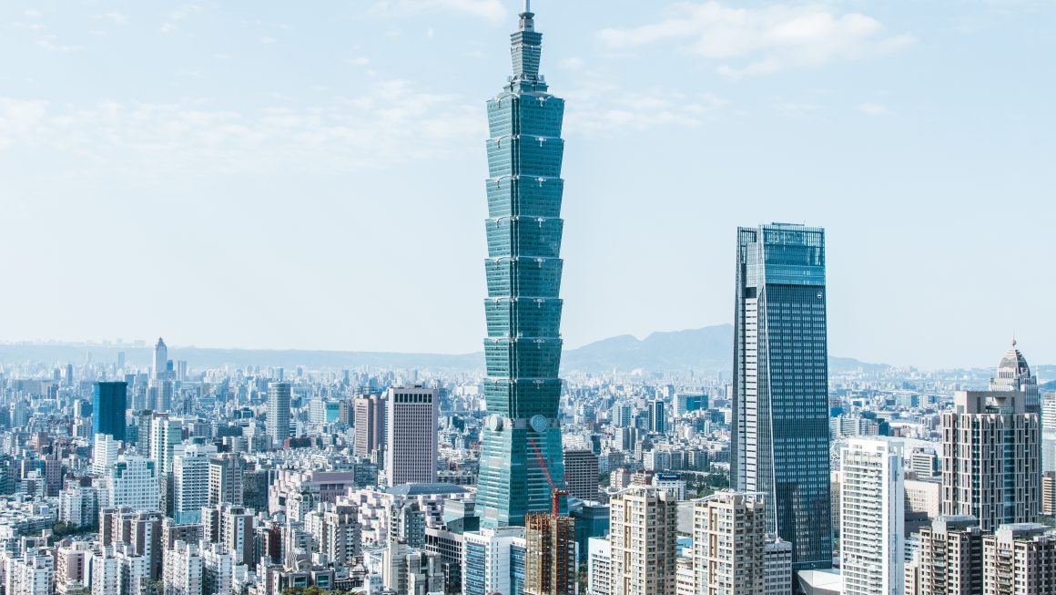 First person view of Taipei's CBD in the daytime with Taipei 101 as the main focus