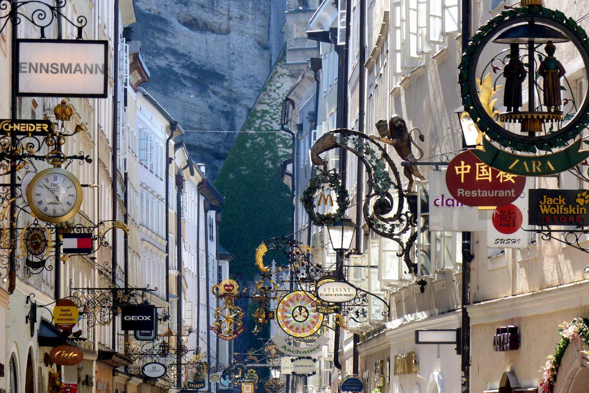 Golden billboard at Salzburg shopping street