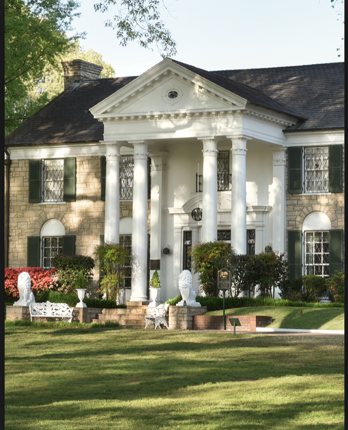 Once home to Elvis Presley, the Graceland Mansion now stands as a tribute and museum to the King of Rock 'n' Roll