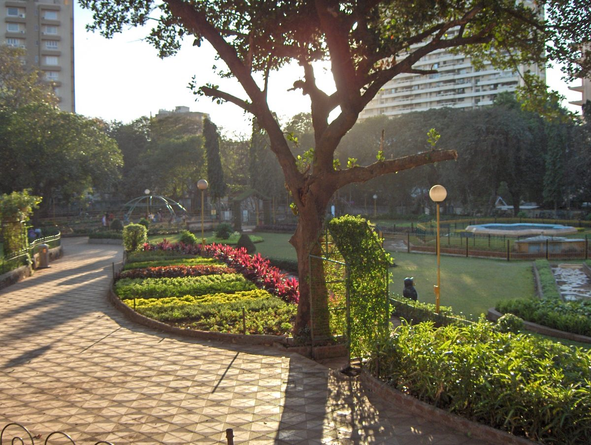 Bright flowers and lush greenery at the Hanging Gardens of Mumbai where visitors can enjoy a relaxing stroll