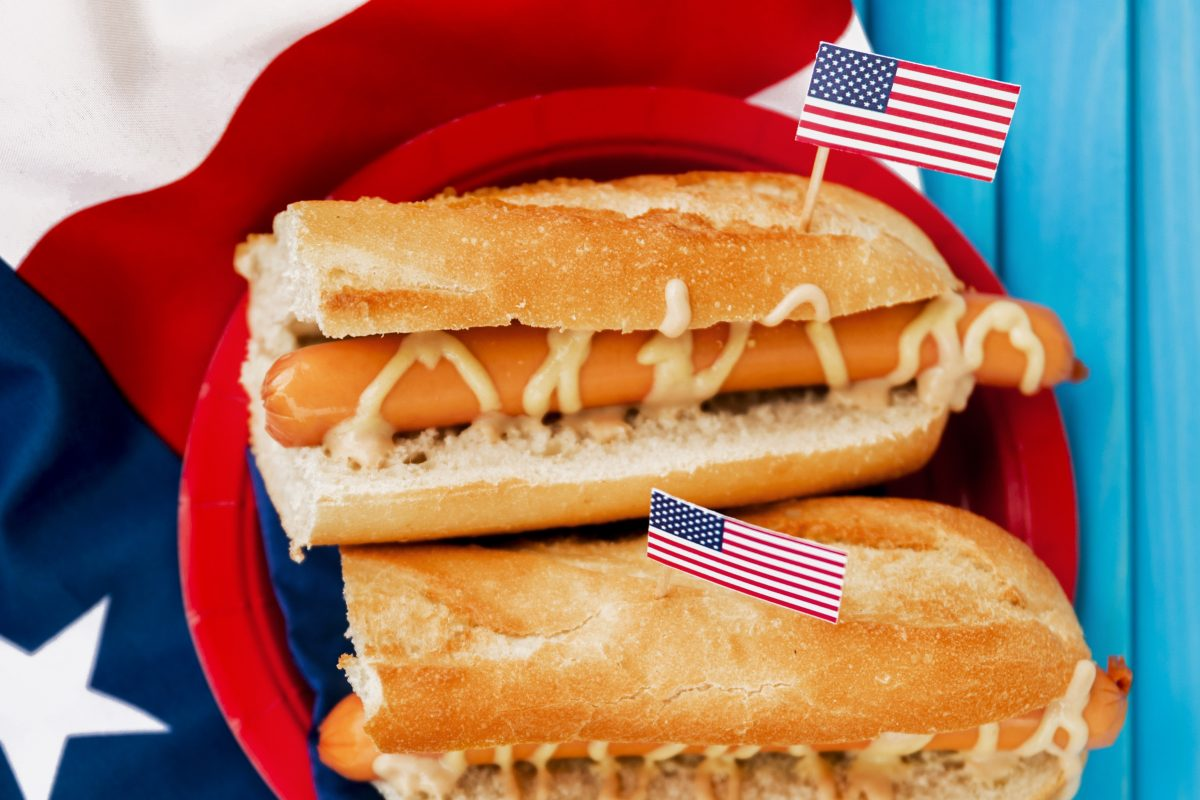 Two hot dogs with American Flag
