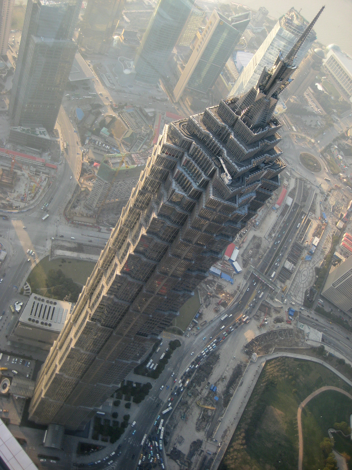 Bird's eye view of the Jin Mao Tower from the observatory floors of the Shanghai World Financial Centre