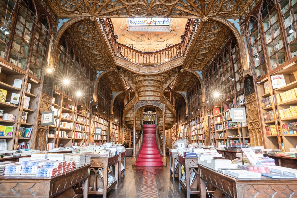 Interior of Livraria Lello, the most beautiful book store in Portugal, and served as inspiration for J.K Rowling's Harry Potter series