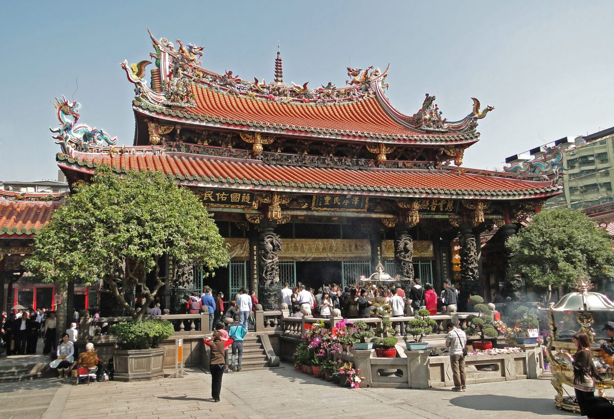 Main entrance to Longshan Temple, most famous place of worship in Taipei