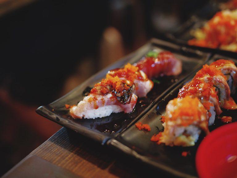 Sushi Japanese Food Plate Rice Restaurant Shrimp