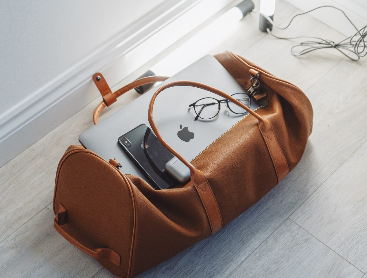 Gadgets on Top of a Travel Bag
