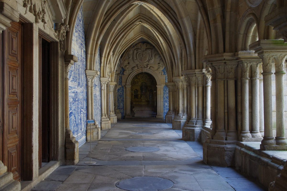 Interior of the Porto's Cathedral's cloister which house classic treasures and its wall paintings illustrate stories from the Bible