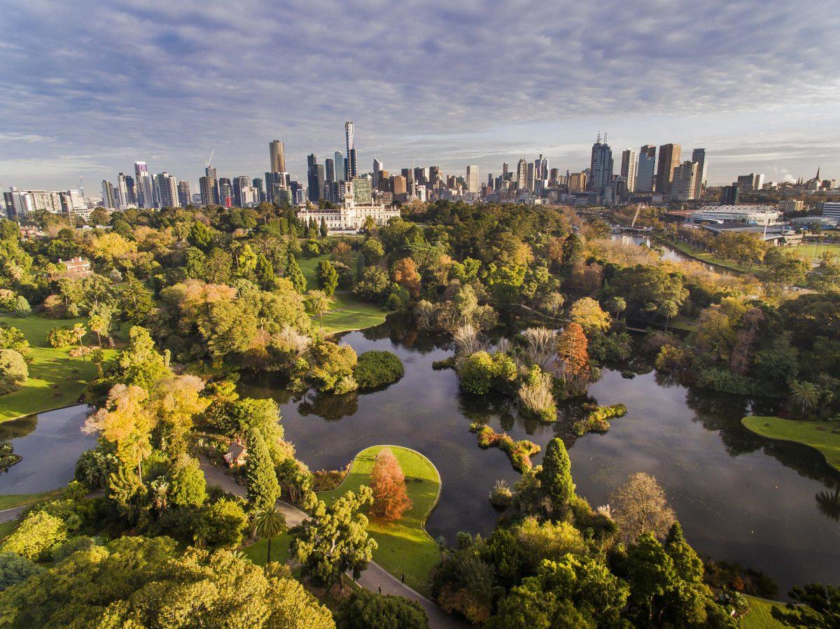 Bird's eye view of Royal Botanic Gardens Melbourne