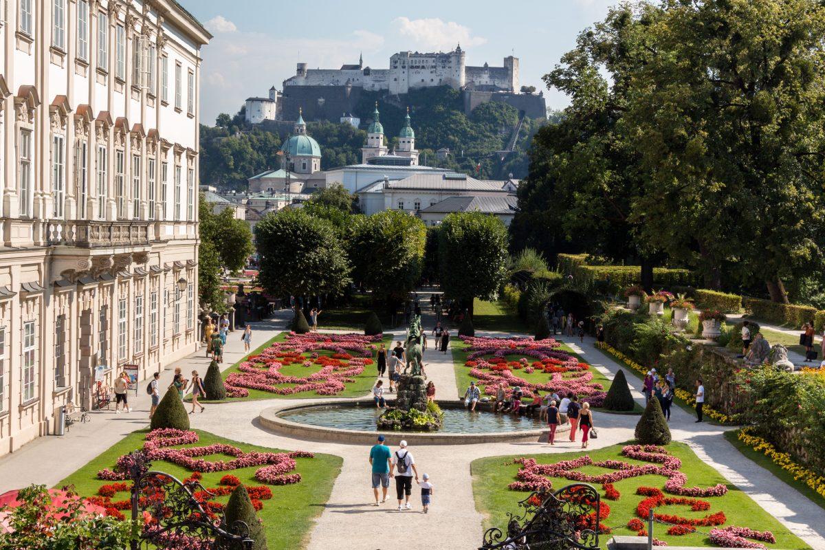 Vibrant colour gardens at Mirabell Palace Salzburg