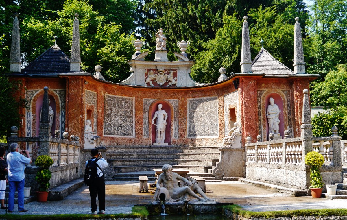 Beautiful fountain with tricks at Hellbrunn Salzburg