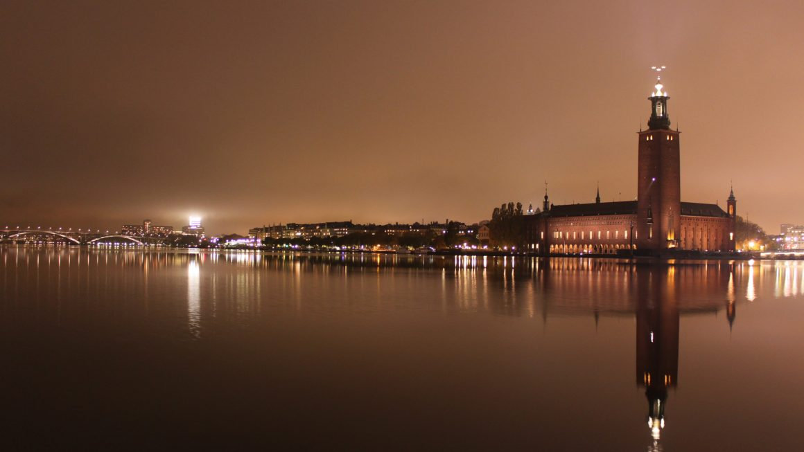 Stockholm, evening shot overlooking the waters at Stockholm City Hall