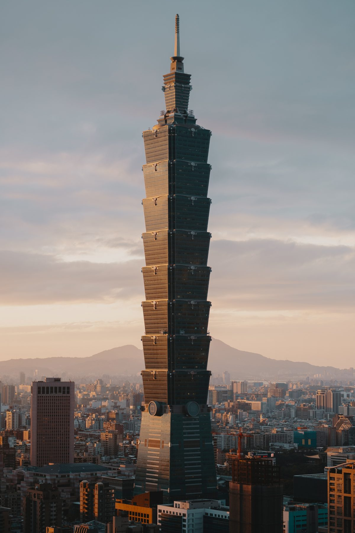 Majestic view of Taiwan's tallest building and the icon of Taipei, Taipei 101 among other buildings in the city