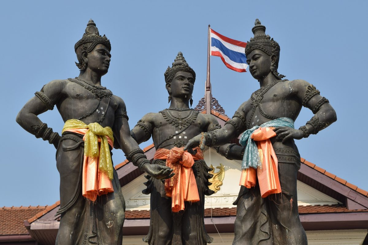 Three Kings Monument representing Lanna Kingdom, Chiang Mai
