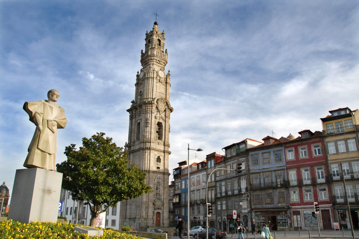 Torre dos Clerigos, the tallest tower in Portugal, provides a panoramic view of Porto from its observation deck