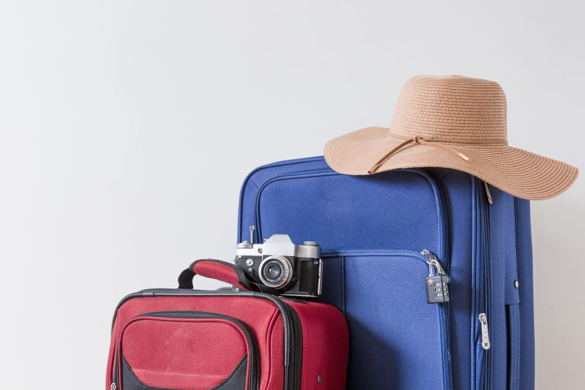 Travel Bags with a camera and a beach hat