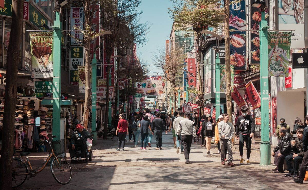 Vibrant streets of Taipei's youth Mecca and premium pedestrian shopping district, Ximending