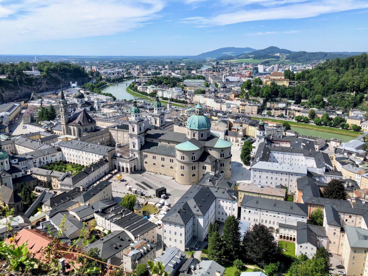 Stunning skyview of Salzburg Old Town