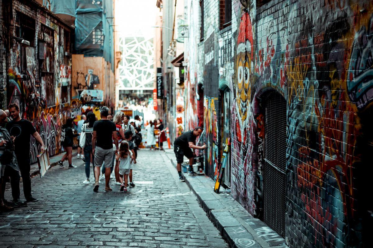 Colourful Graffiti lanes in Melbourne street