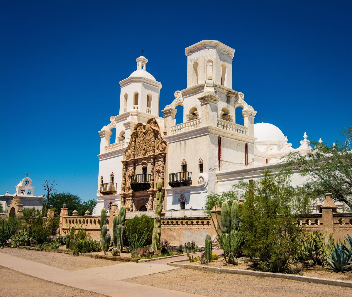 White exterior of Mission San Xavier del Bac, Tucson
