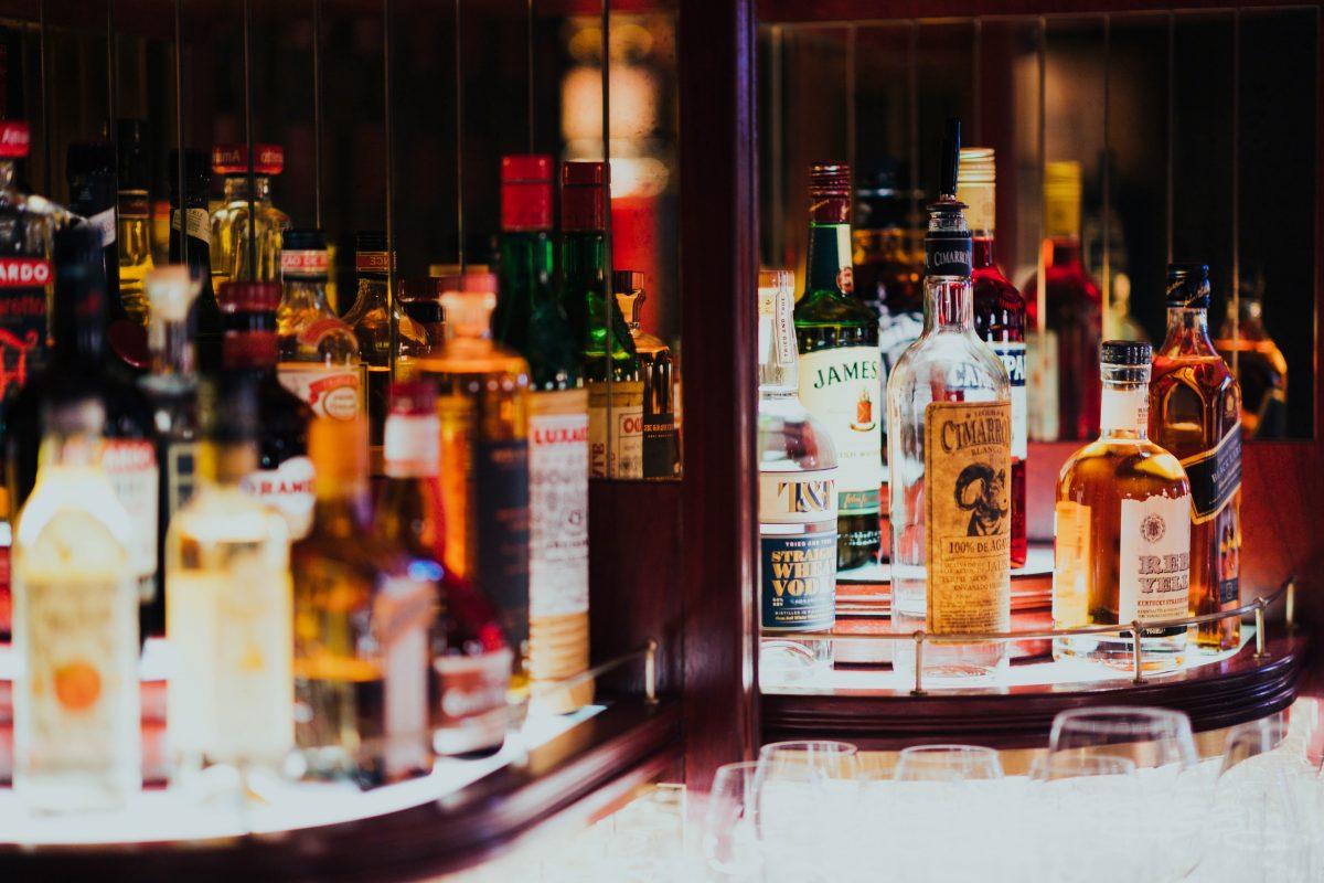 Liquors on bar counter Chiang Mai