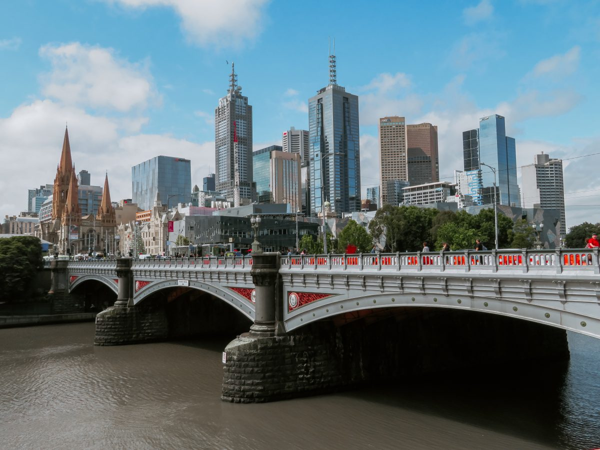 Melbourne's southbank with river view over the bridge