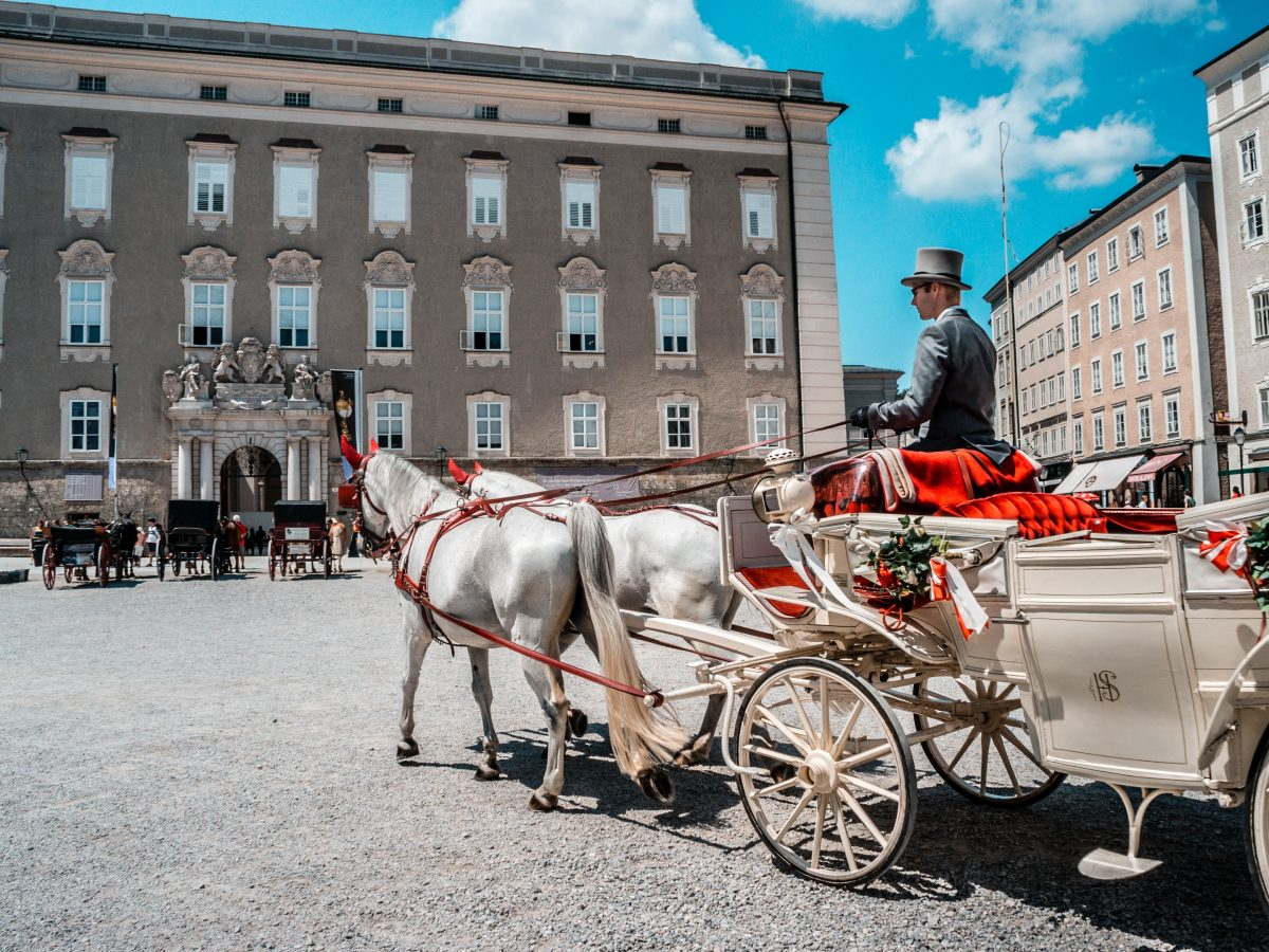 White horse carriage at Salzburg City, Austria