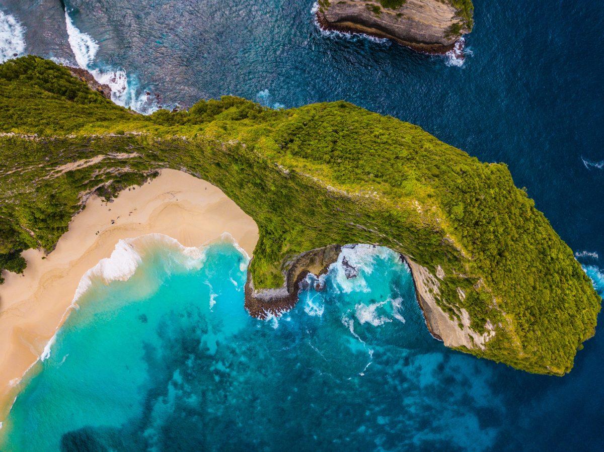 Bird's eye view of Kelingking Beach Bali
