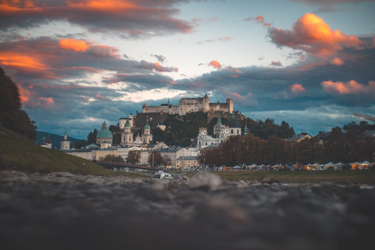 Stunning view of Salzburg Fortress from the city