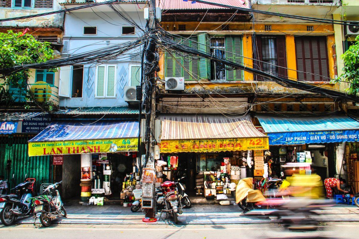 Colourful street of Hanoi Old Quarter