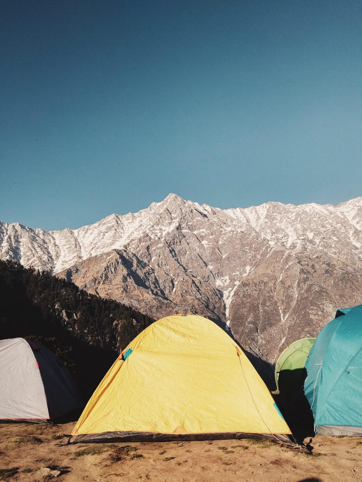 Yellow pop up tent