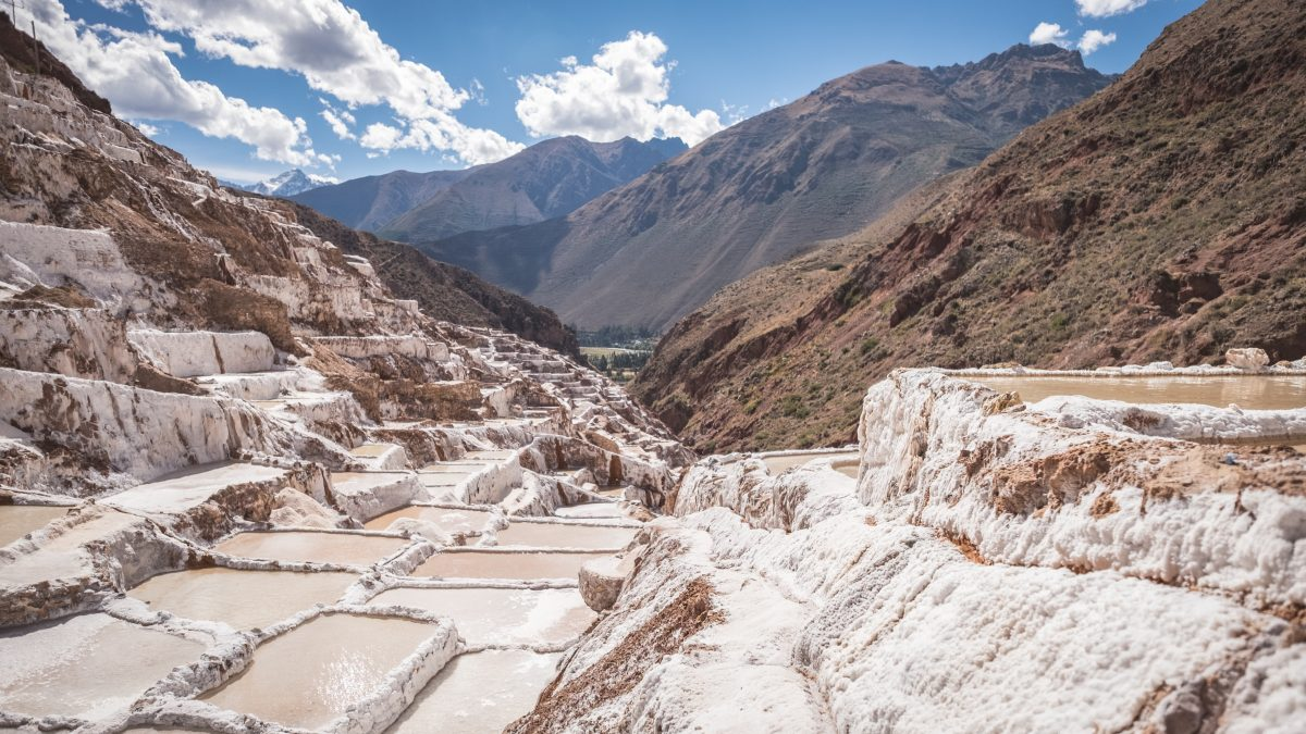 White crystalized salt ponds at Peru