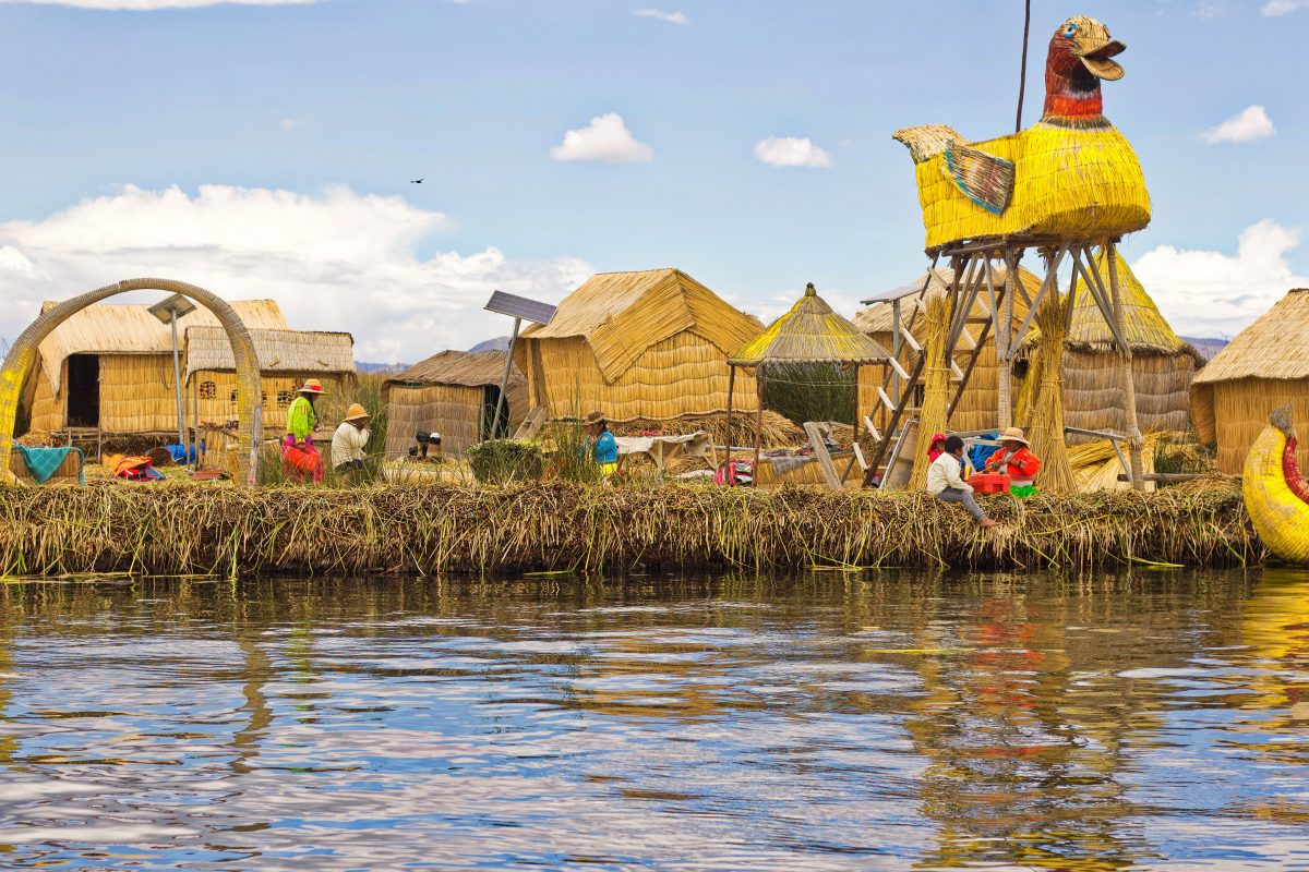 Floating island built with reef at Lake titicaca