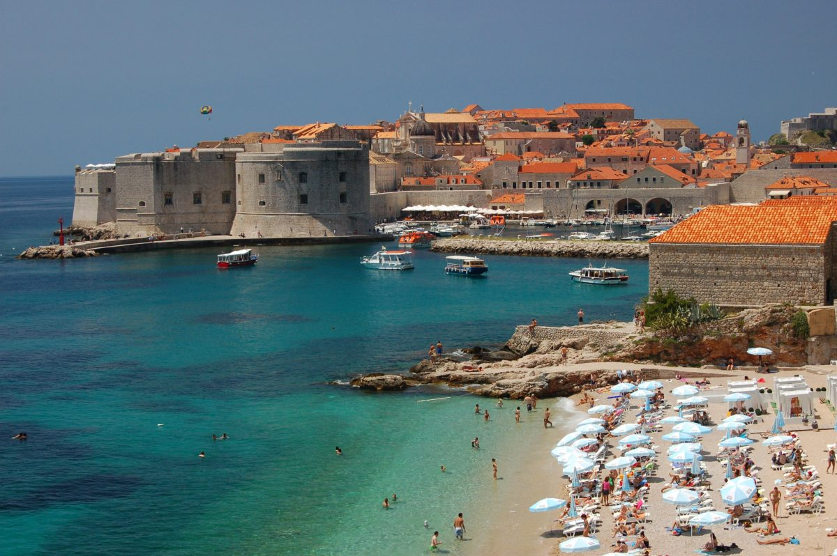Banje Beach during summer in Dubrovnik