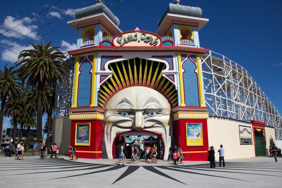 Roller coaster ride at Luna Park, Melbourne