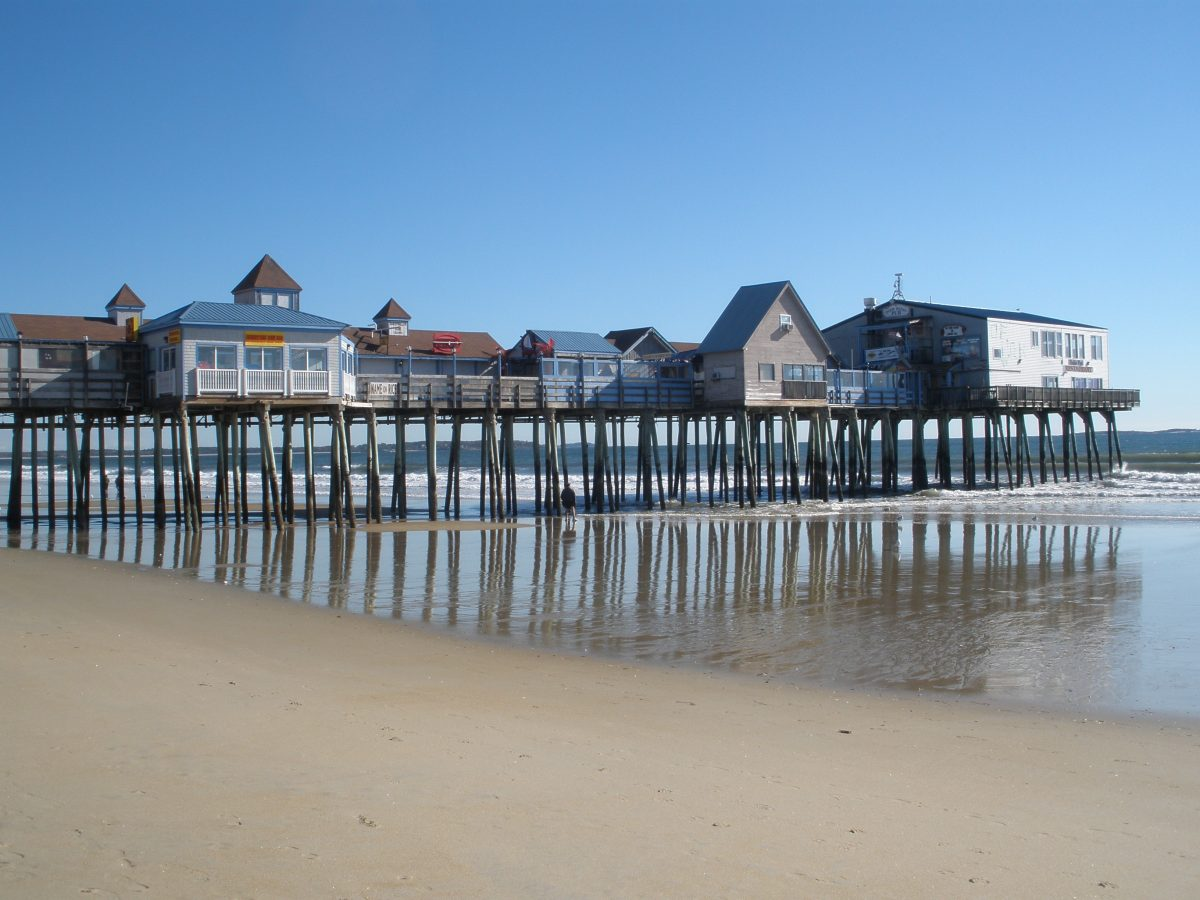 The wooden pier in Old Orchard Beach