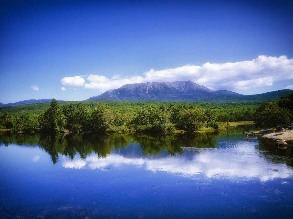 Mount Katahdin and a lake