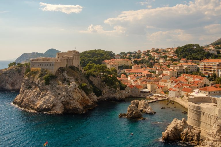 Fortress view with blue sea of Dubrovnik Croatia